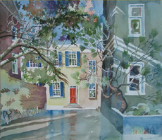 Shortcut to Cornhill St., painting by Bob Caffrey