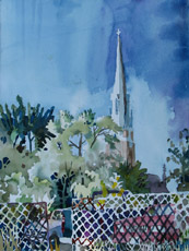 St. Mary's with Parked Cars, painting by Bob Caffrey