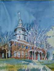 Statehouse, East Facade, painting by Bob Caffrey