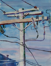 Morris Street Power, painting by Bob Caffrey