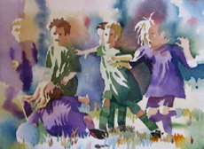 Kids Playing Ball, painting by Bob Caffrey