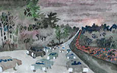 Route 50 Rush Hour, 1, painting by Bob Caffrey