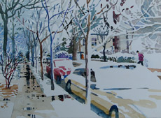 Southgate Ave. in the Snow, painting by Bob Caffrey