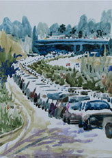 Traffic on Bestgate, painting by Bob Caffrey