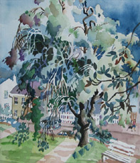 Tree in Summer, Statehouse, painting by Bob Caffrey