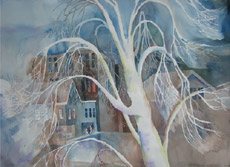 Tree in Winter, Statehouse,1, painting by Bob Caffrey