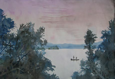 Pines on the Severn, painting by Bob Caffrey