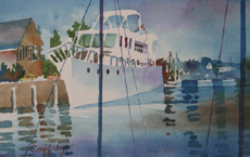 White Yacht, 1, painting by Bob Caffrey